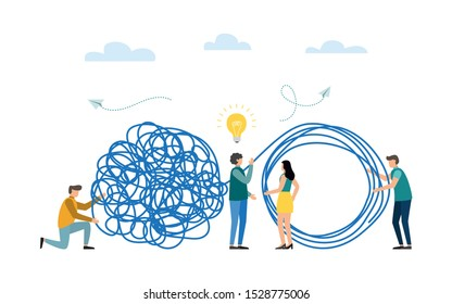 Business problem solving concept. Tangle and unraveled. abstract metaphor. Teamwork, coworking, partnership. Vector illustration