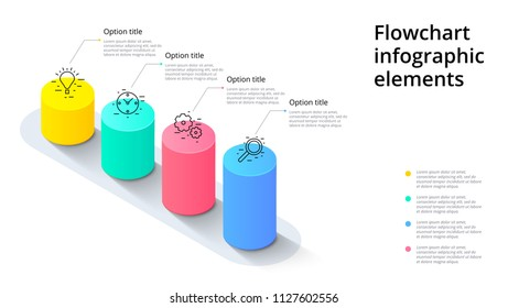 Business process chart infographics with 4 step segments. Cylindric 3d corporate timeline infograph elements. Company presentation slide template. Modern vector info graphic layout design.