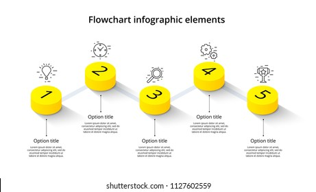 Business process chart infographics with 5 step segments. Isometric 3d corporate timeline infograph elements. Company presentation slide template. Modern vector info graphic layout design.