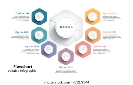 Business process chart infographics with 7 step segments. Circular corporate timeline infograph elements. Company presentation slide template. Modern vector info graphic layout design.