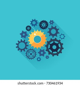 Business process concept. Cogwheel mechanism with gold gear as symbol of successful business. Vector illustration.