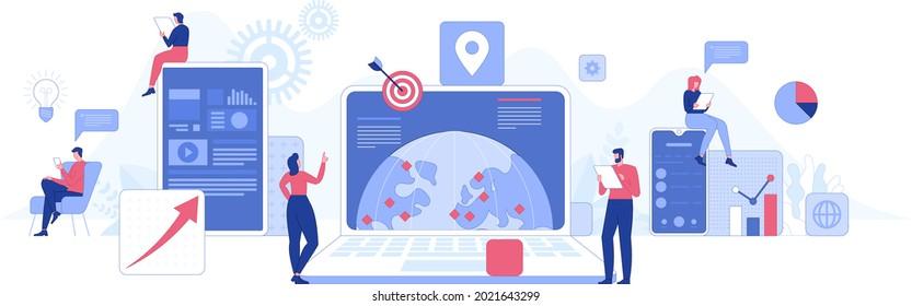 Business Process Konzept. Teamarbeit des internationalen Unternehmens, Analyse globaler Daten, Entwicklung einer erfolgreichen Strategie und Organisation des Teams. Vektorgrafik für Bannerdesign