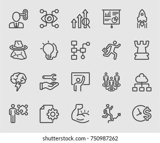 Business process and Control line icon