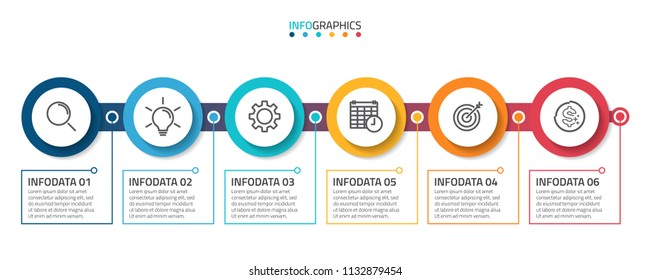 Business process design template and marketing icons with thin line title box. Timeline infographics with 6 steps, options, circles. Vector eps10 illustration.