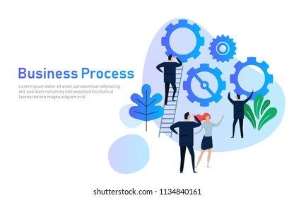 Business Process. Flat design concept for team building. Hands with gears. cooperation working together in company corporation. vector illustration.