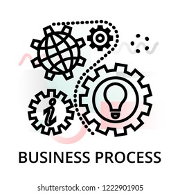 Business process icon on abstract background from startup set, modern editable line vector illustration, for graphic and web design