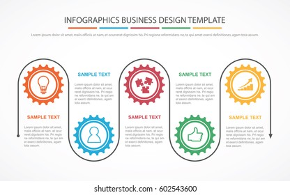 Business process infographic concept template for business or corporate with gear wheels and work strategy guide. EPS10 vector.