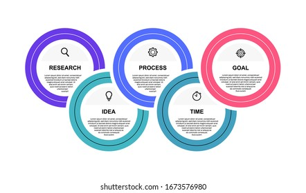 Business process infographic template with 5 options or steps. Modern flat design. Vector illustration.