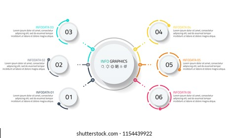 Business process infographic. Timeline with 6 step, number options, workflow diagram, annual report, presentation or web design. Vector illustration.