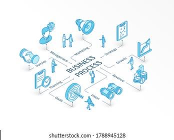Isomometrisches Unternehmenskonzept. 3D-Symbole der verbundenen Linie. Integriertes Infografik-System. Die Leute arbeiten miteinander. Strategiemodell, Management, Markt, Partnersymbol. Plan, Ziel, Bildwachstumsbild