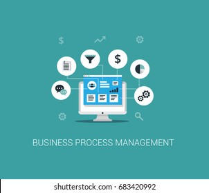 Business Process Management System concept. Vector illustration in flat style.