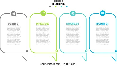 Business process step design label. Timeline infographic with 4 steps, options and number. Vector thin line element for presentation.