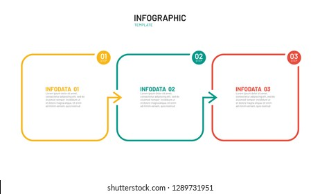 Business process step design template. Timeline infographic with 3 steps, options, arrows. Vector thin line elements for presentation.