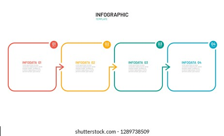 Business process step design template. Timeline infographic with 4 steps, options, arrows. Vector thin line elements for presentation.