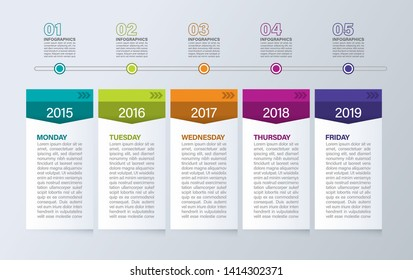 Business process template. Timeline infographics with 5 steps or options.