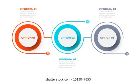 Business process. Timeline with 3 options, steps. Vector template.