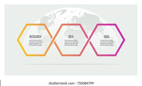 Business process. Timeline with 3 options, hexagons. Vector template.