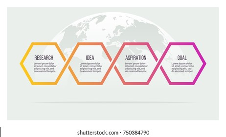 Business process. Timeline with 4 options, hexagons. Vector template.