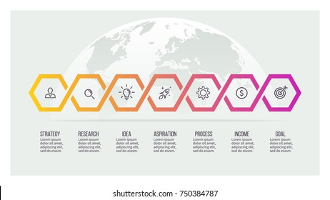 Business process. Timeline with 7 options, hexagons. Vector template.
