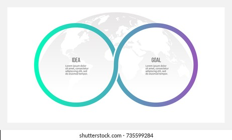 Business process. Timeline infographics with 2 options, circles. Vector template.