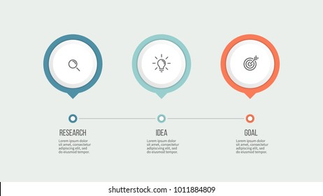 Business process. Timeline infographics with 3 steps, options. Vector template.
