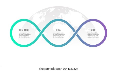 Business process. Timeline infographics with 3 options, loops. Vector template.