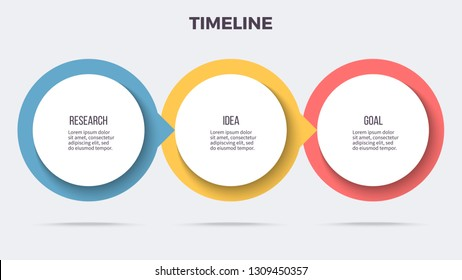 Business process. Timeline infographics with 3 steps, options, circles. Vector template.