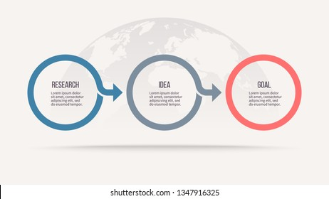 Business process. Timeline infographics with 3 steps, circles. Vector chart.