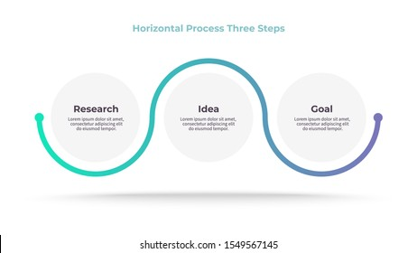 Business process. Timeline infographics with 3 steps, options, circles. Vector chart.