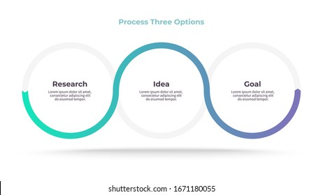 Business process. Timeline infographics with 3 steps, options. Vector chart.