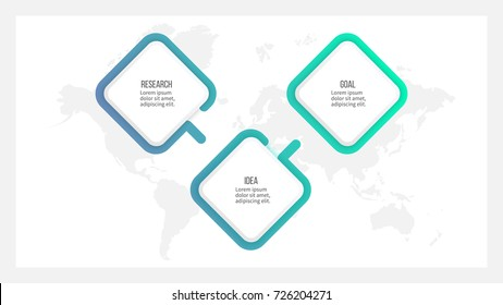 Business process. Timeline infographics with 3 steps, options, squares. Vector template.