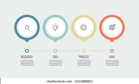 Business process. Timeline infographics with 4 steps, options. Vector template.