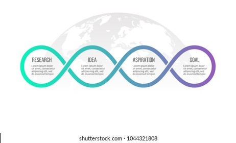 Business process. Timeline infographics with 4 options, loops. Vector template.