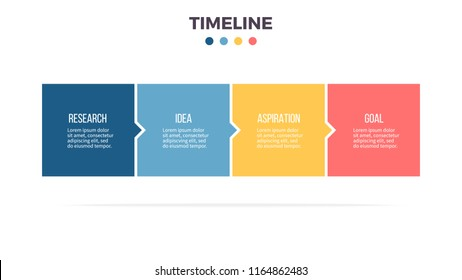 Business process. Timeline infographics with 4 steps, options, squares. Vector template.