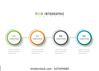 Business process. Timeline infographics with 4 options, circles. Vector illustration.
