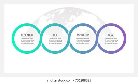 Business process. Timeline infographics with 4 options, circles. Vector template.