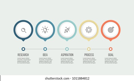 Business process. Timeline infographics with 5 steps, options. Vector template.