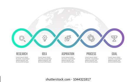 Business process. Timeline infographics with 5 options, loops. Vector template.