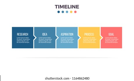 Business process. Timeline infographics with 5 steps, options, squares. Vector template.