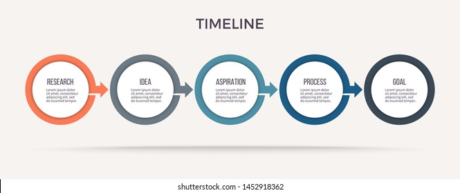 Business process. Timeline infographics with 5 steps, circles, arrows. Vector chart.