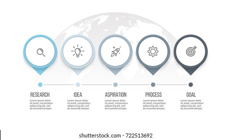 Business process. Timeline infographics with 5 steps, options, arrows. Vector template.