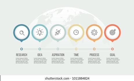 Business process. Timeline infographics with 6 steps, options. Vector template.