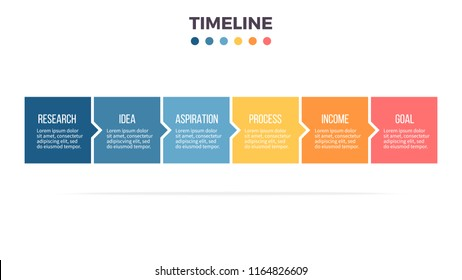 Business process. Timeline infographics with 6 steps, options, squares. Vector template.