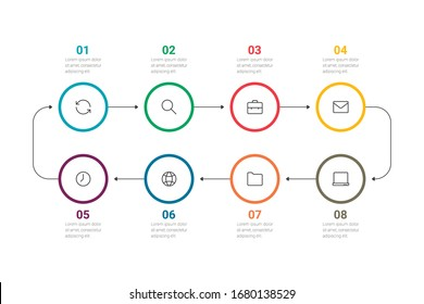 Business process. Timeline infographics with 8 options, circles. Vector illustration.