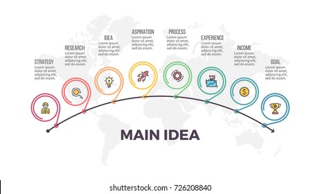 Business process. Timeline infographics with 8 steps, options, arrows. Outline vector template.