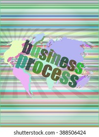 business process word on digital screen, mission control interface hi technology vector illustration