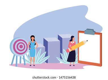 business professional executive successful couple teamwork, people working for project presentation cartoon vector illustration graphic design