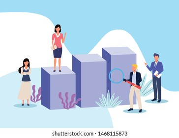 business professional executive successful teamwork, people working for project presentation cartoon vector illustration graphic design