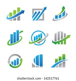Business professional logo template with bars and chart stock cons