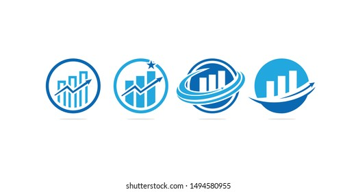 Business Professional statistic logo template with bars, chart stock, growing graph vector illustration